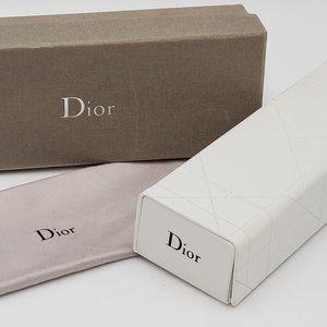 Christian Dior White Eye Glasses Case, Cloth & Box